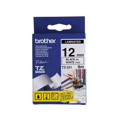Brother Genuine TZe-231 Black Print on White Tape Labels