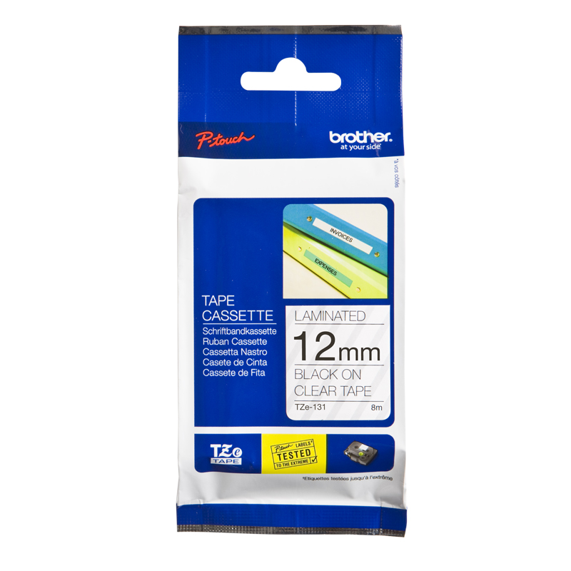 Brother Genuine TZe-131 Black Print on Clear Tape Labels