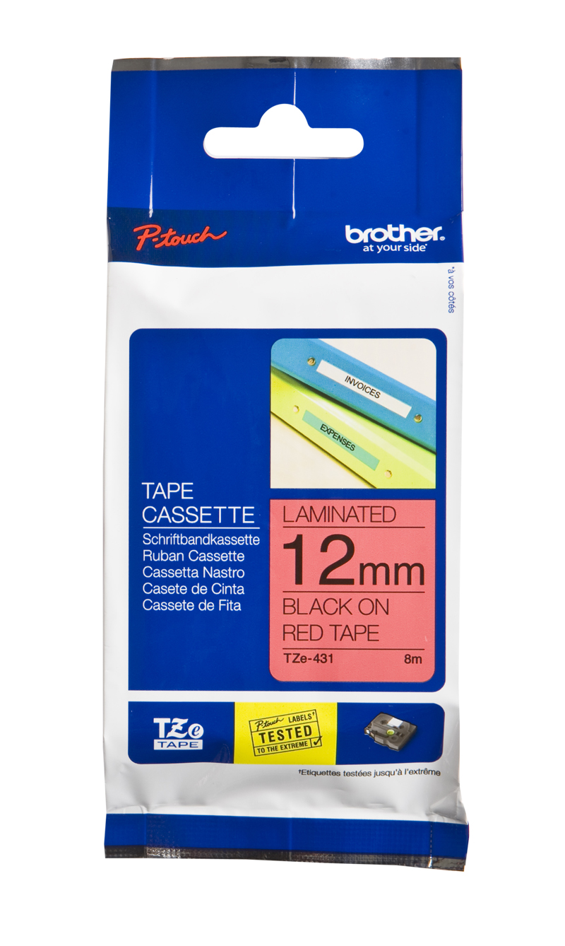 Brother Genuine TZe-431 Black Print on Red Tape Labels