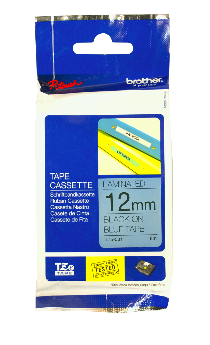 Brother Genuine TZe-531 Black Print on Blue Tape Labels
