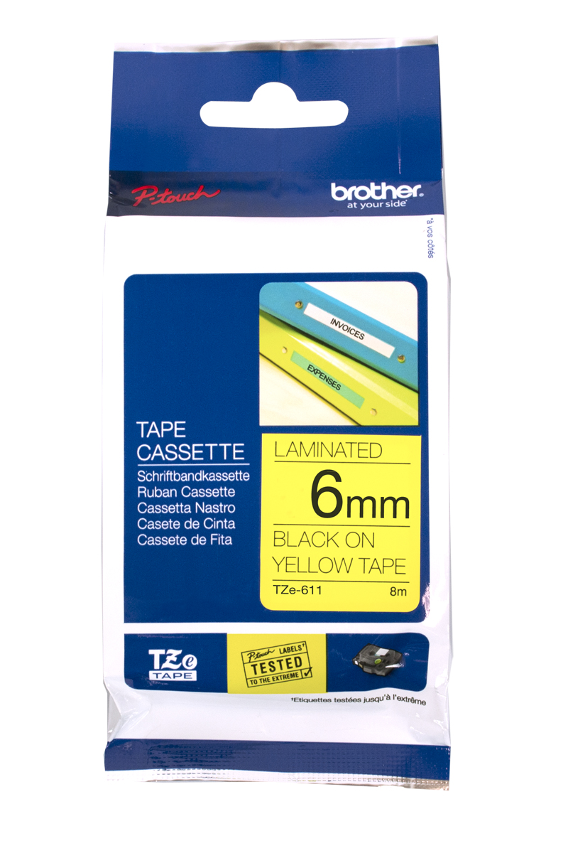 Brother Genuine TZe-611 Black Print on Yellow Tape Labels TZ-611